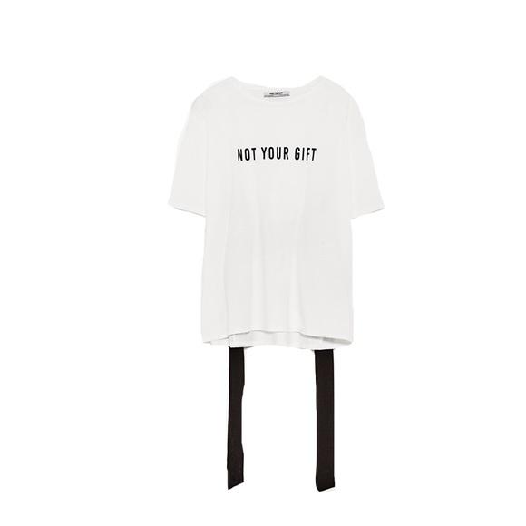 bdfe98a6 Zara Tops | Not Your Gift Ribbon Back T Shirt Size Large | Poshmark